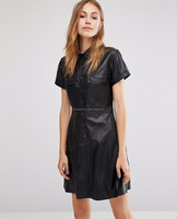 Hot Sale Women Black Leather Cheap Dress Wholesale