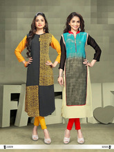 Fab Exclusive Yellow Designer Faux Georgette Kurti for women
