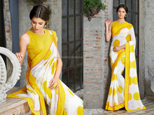 Off White And Yellow Linen Lace Border Casual Saree