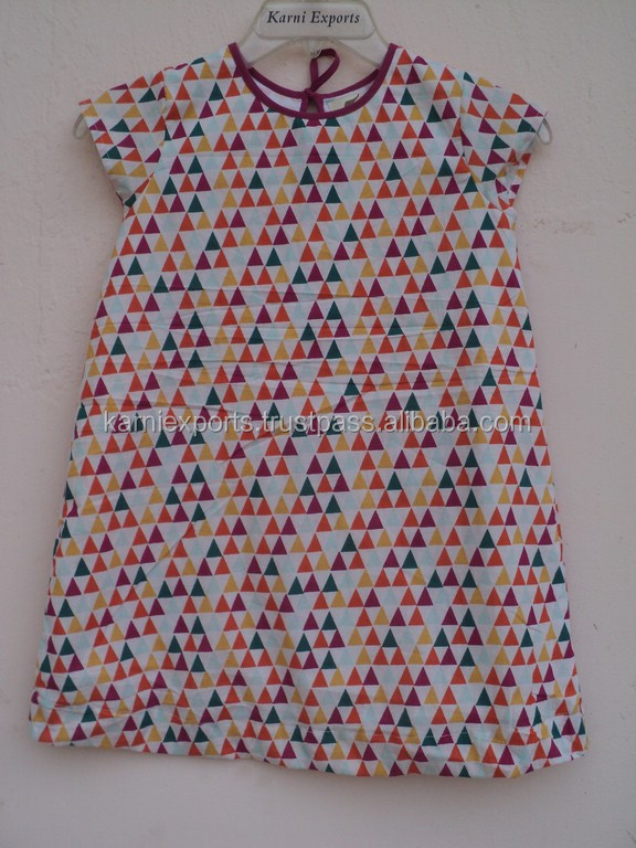 Kids ball gown dresses kids party wear dresses for girls / Cotton geometrical printed kids wear dresses