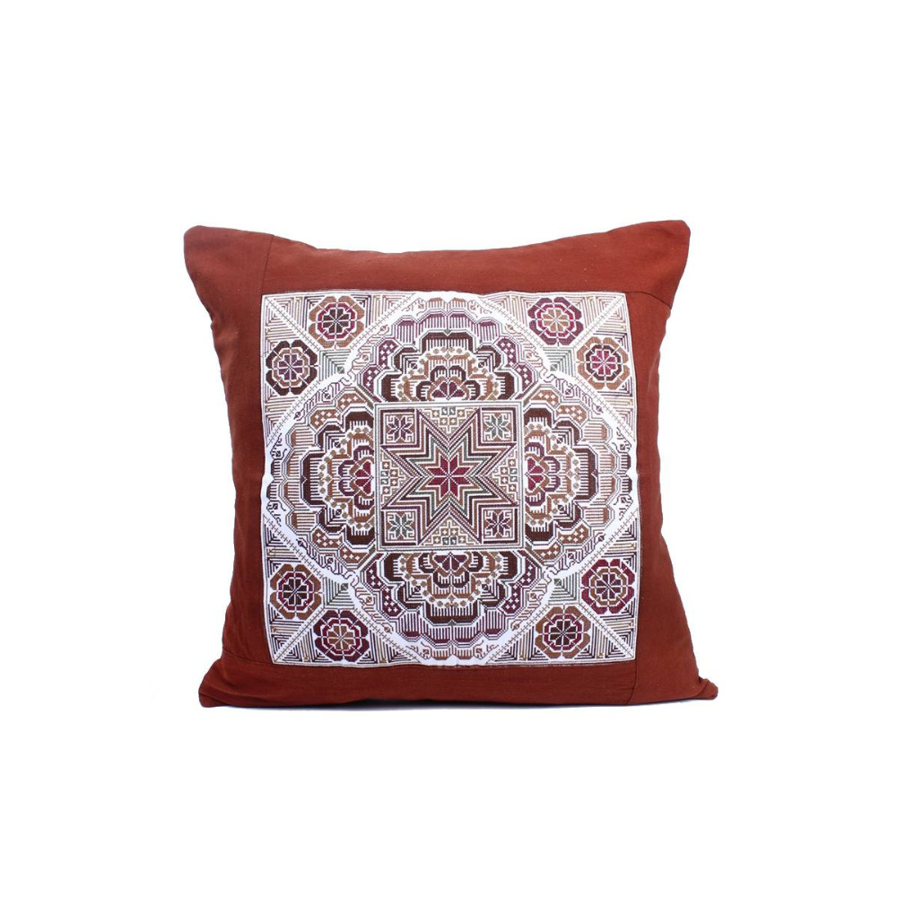 Sublime Cushion With A Mocha Sok Star Embroidered Pattern, Brown Cotton Material