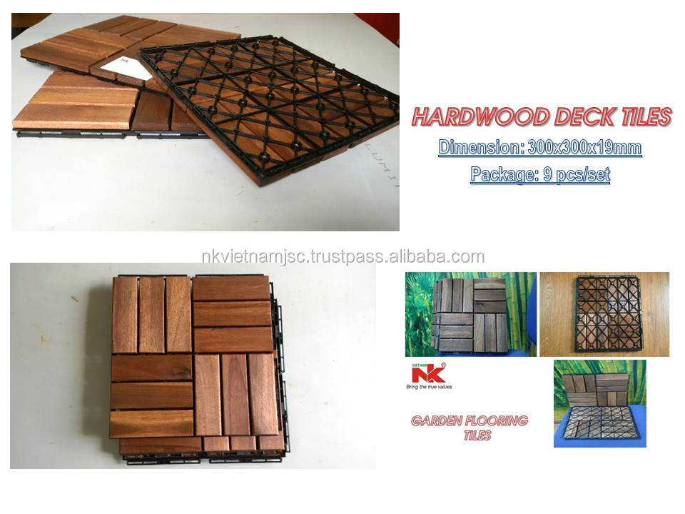 Acacia wood deck tile water proof, easy for installation