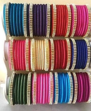 Indian fancy silk thread bangles set Indian bangles wholesale