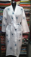 Indian Handmade Cotton Block Printed Kimono Intimate Night Cotton Gown Sleep Ware Designer Kaftan Dress