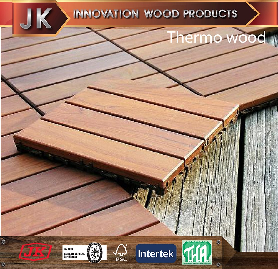 Solid Wood ThermoWood RubberWood Garden TIles 300x300