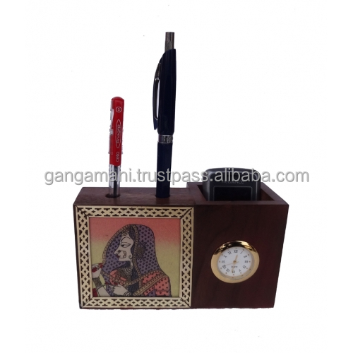Handmade Gem Stone Painting Pen Holder Visiting Card Cum Mobile Holder With Watch