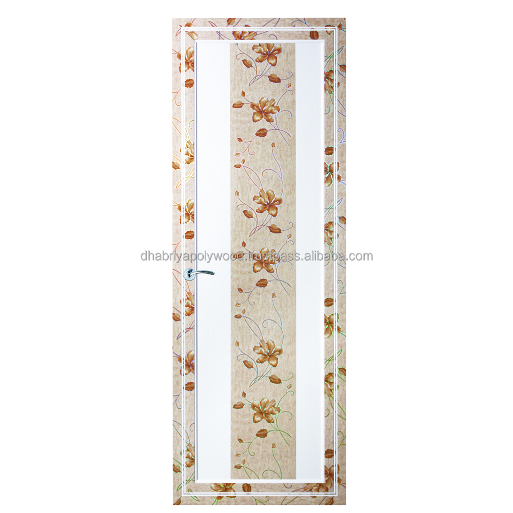 Latest design Polywood PVC Laser foil Flower Printed PVC cheap bathroom doors