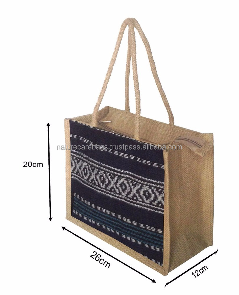 customized logoRecyclable reusable jute shopping bag with bamboo handles/fancy gift pictures printing foldable jute shopping bag