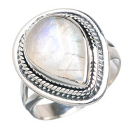 Wholesale price silver jewellery, natural Rainbow moonstone ring in all sizes