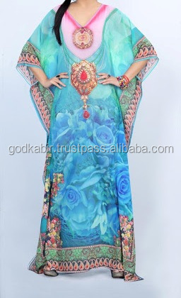 Luxurious Design fancy kaftans/ Beautiful long Ladies Royal sky blue color flower base digital print antique hand embroidered .
