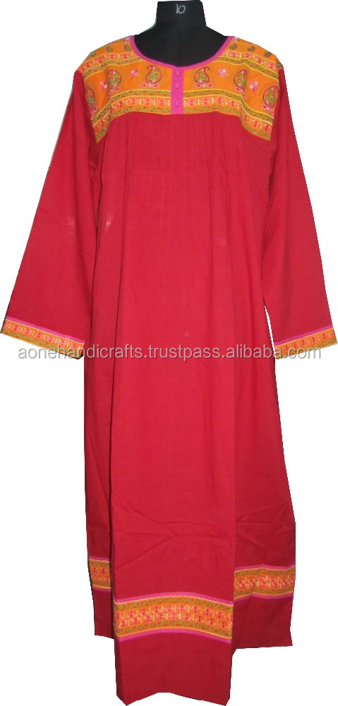 Indian ladies designer printed kaftan , red color ladies long kaftan , indian embroidered cotton kaftan