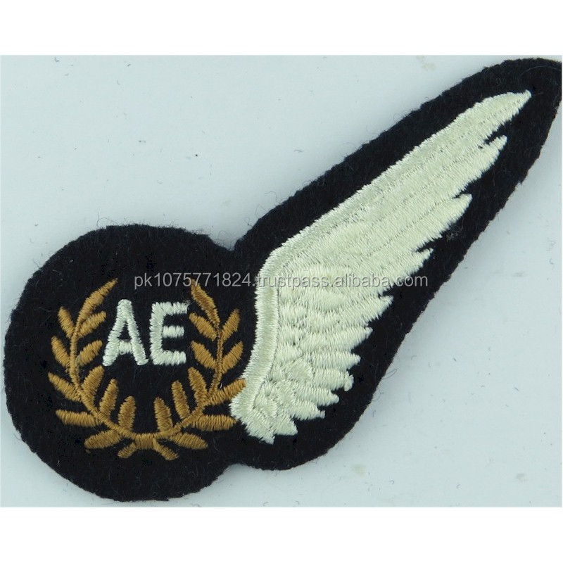 machine embroidery badges RAF Brevet - AE (Air Electronics) Half-Wing Padded Embroidered Air Force Branch Badge