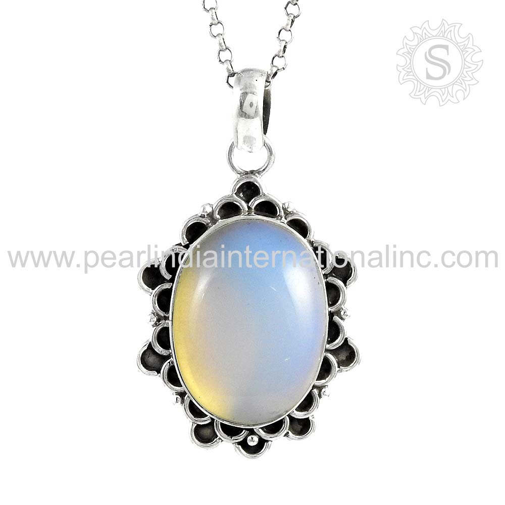 Effective opal natural gemstone silver pendant 925 sterling silver jewelry indian silver jewelry