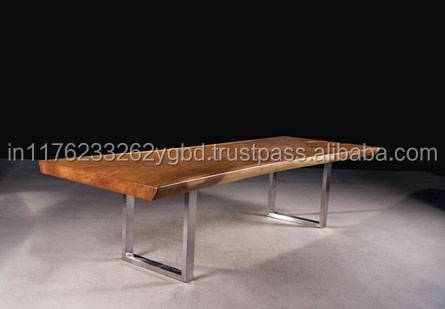 8 Seater Silver Iron Leg Thick Wooden Top Dining Table