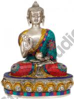 Lord Buddha Interpreting His Dharma Fine Nepali Turquoise Coral Art 9
