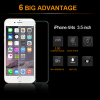 Promotion anti-fingerprint tempered glass screen protector for iphone 4S