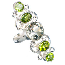 Natural faceted green amethyst and Peridot ring 92.5 sterling silver