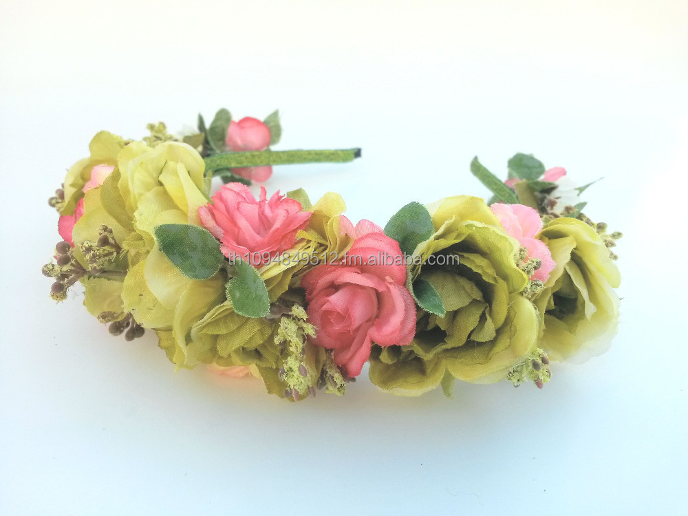 Rose Hair Crown Hairband, Handmade Fashionable Hair Accessories for Children and Adults