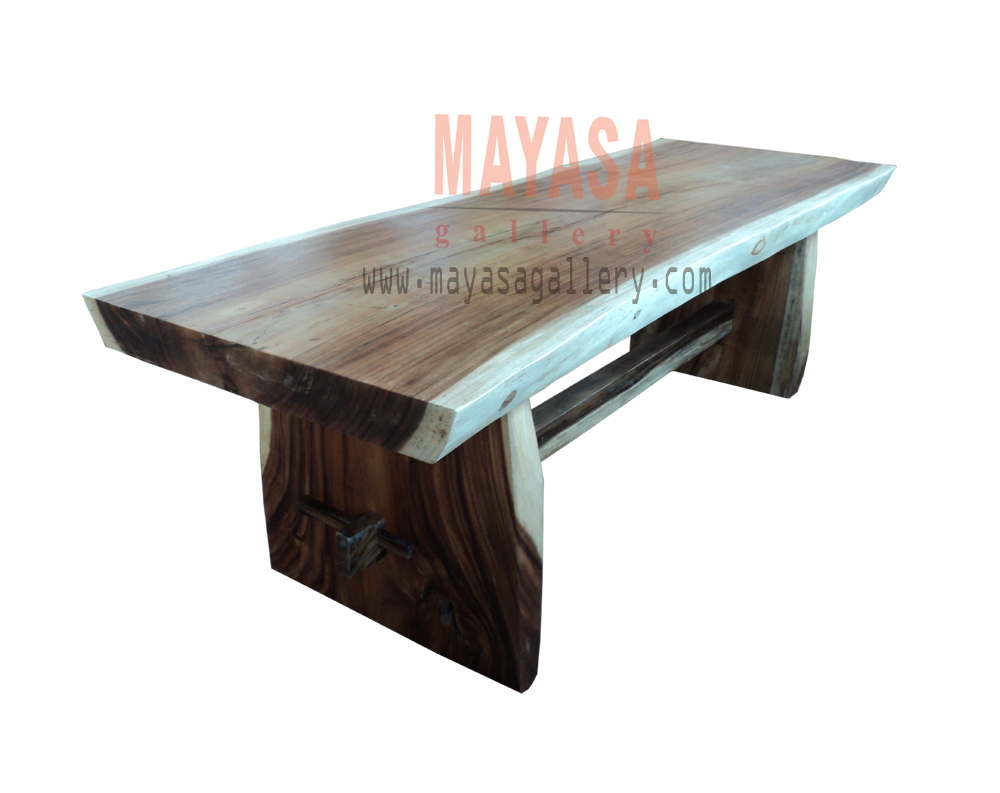 Solid Slab Suar Wood Dining Table