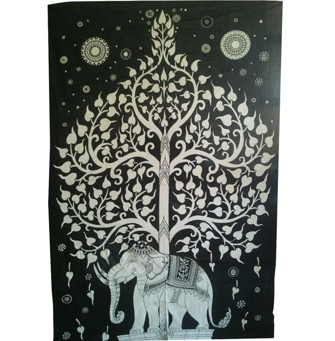 L phant indien avec arbre tapisserie murale tentures art for Tapisserie deco murale
