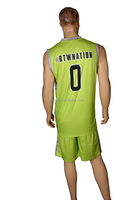Printing Quick Dry yellow basketball jersey sublimation basketball uniform design