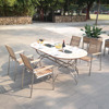 Stainless steel frames teak surface table set outdoor furniture