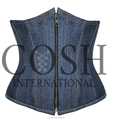 Underbust Denim Cotton Steel Boned Waist Training Zipper Corset Ci-2004