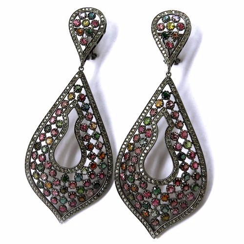 Genuine 4.38 Carat Diamond & Tourmaline Dangler 925 Sterling Silver Earring, Dangler SIlver Earring