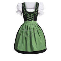 Womens Authentic German Mini Dirndl Oktoberfest Dress Ladies Costume Black Green (Traditional Dress)