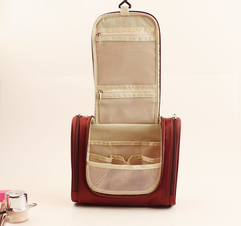 Red toiletry bag with pu material