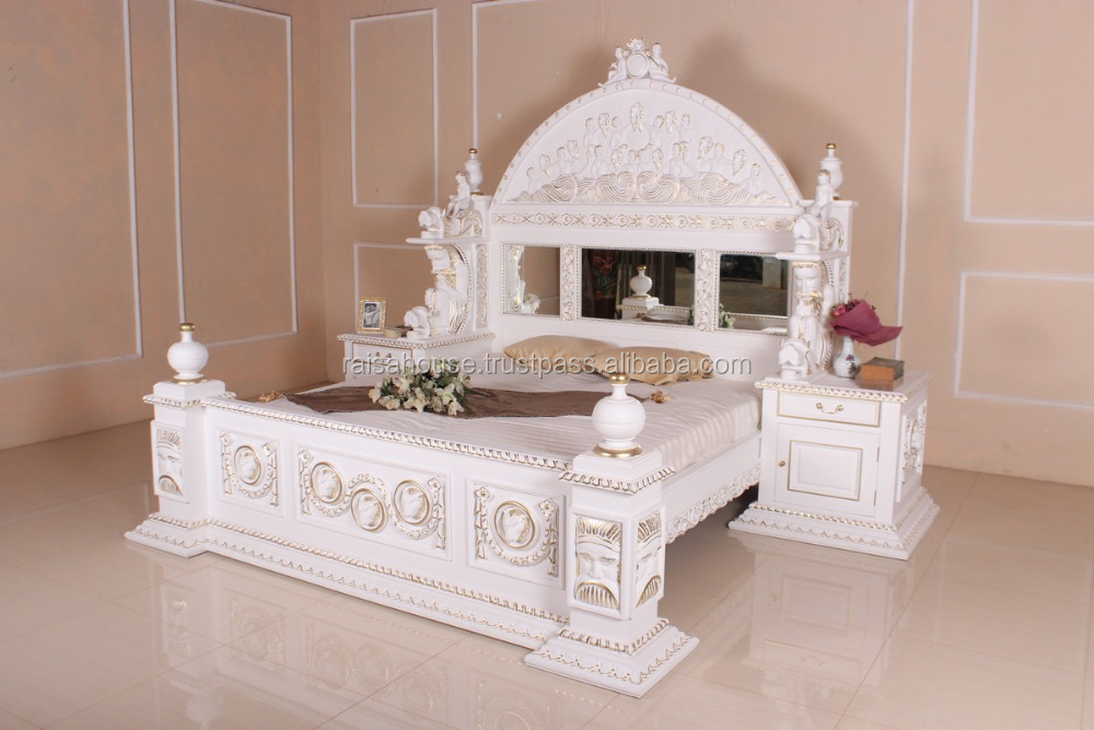 French Style Furniture Indonesia - Lyle Bed with Integrated Nighstand