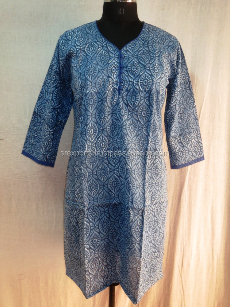 Sexy Casual Women Kurtis Hand Block Printed Girls Tunic Designer Top