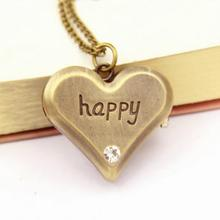 Fashion Watch Necklace Zinc Alloy with Chinese movement Heart word happy antique vintage imitation antique bronze plating