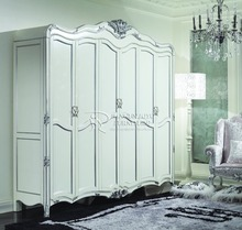antique White & Silver french style and country style bedroom wardrobe design