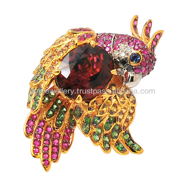 NDNH-364 Luxury bird ring with diamond and sapphire, ruby, tsavorite, tourmaline