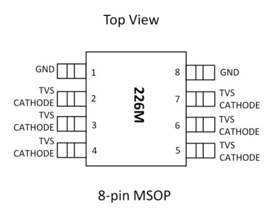 6 channel MSOP-8 ESD Zener Diode Array ESD2200-06MR