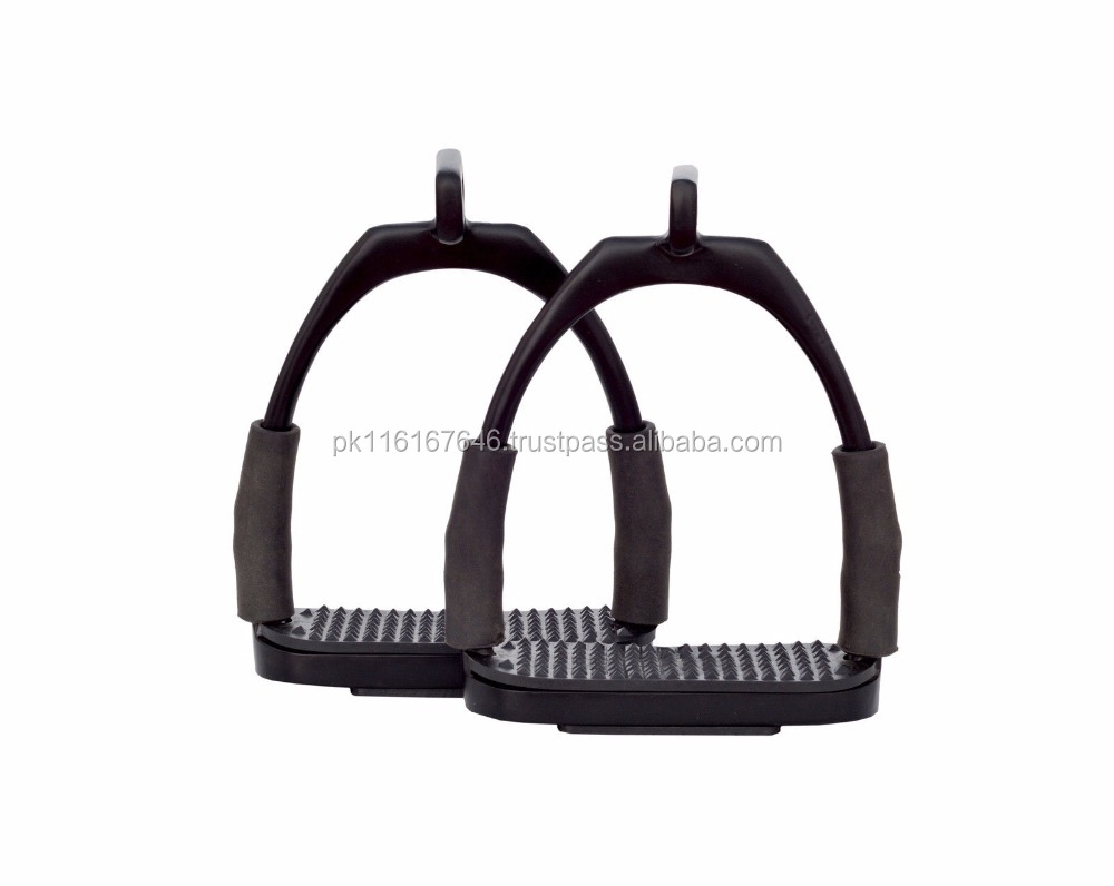 BRAND NEW OFFSET EYE FLEXI SAFETY IRON STIRRUPS OPTIMUM LEG POSITION Black Colour