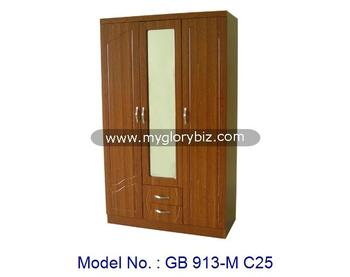 Simple Design Modern 3 Doors Wardrobe With Mirror In Classic Appearance For Indoor Home Bedroom Furniture