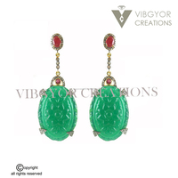 14KGold Natural Ruby Carving Green Onyx Gemstone 925 Sterling Silver Pave Diamond Pave Setted Stud Beautiful Earrings
