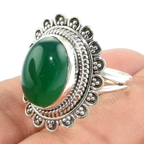 Latest ladies finger ring gemstone green onyx silver ring wholesaler 925 sterling silver jewelry indian silver ring supplier