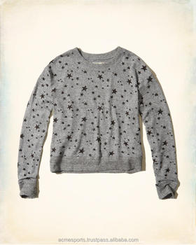 new custom fashion cheap custom ladies cropped top sweatshirt/ wholesale blank pullover sweaters