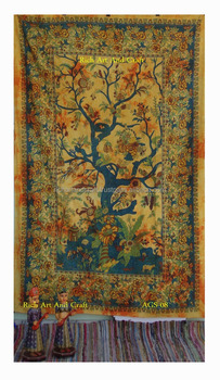 Tree of Life Tapestry Wall Hanging Twin Cotton Bedspread Bohemian Indian Tapestries