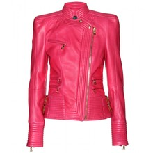 Pink girl fashion wear leather jacket