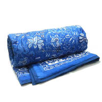 Anarkali blue Indian Hand Block printed cotton twin size quilt