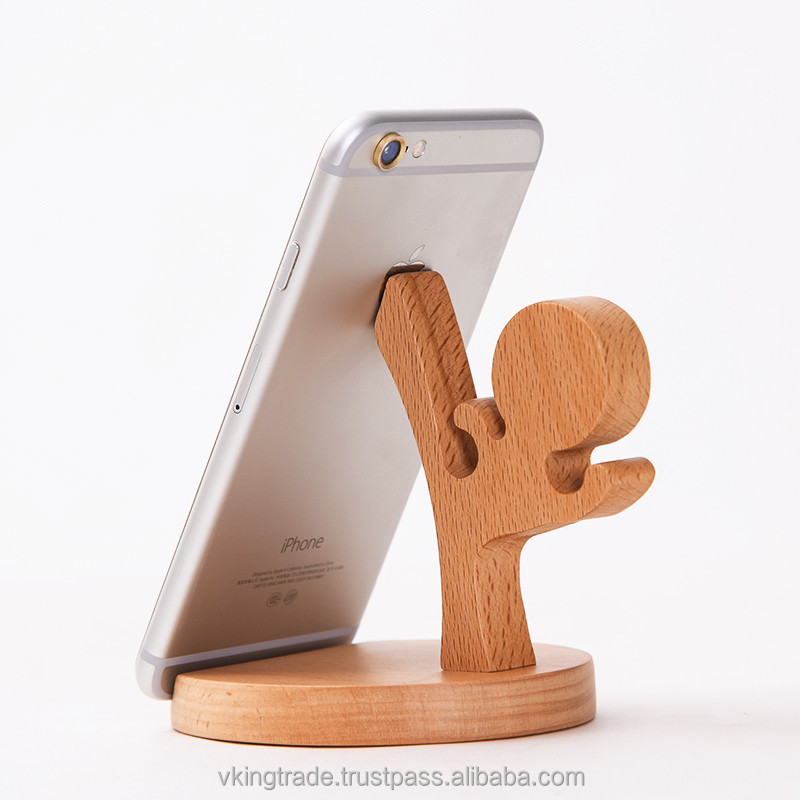 Vking Creative Wooden Square cell phone holder for car with Cartoon Character Office