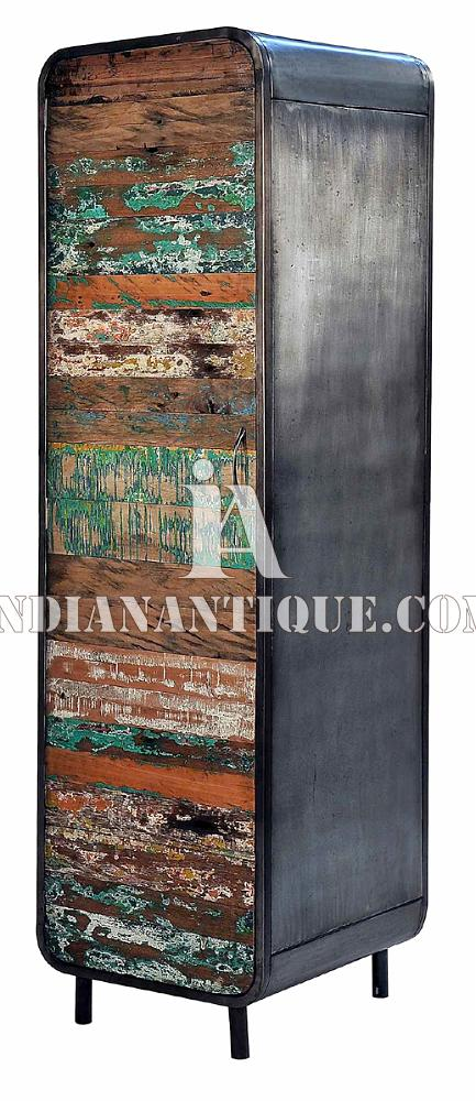 ALMIRAH RECYCLED RECLAIMED IRON WOODEN INDIAN FURNITURE FROM JODHPUR INDIA RWI-09