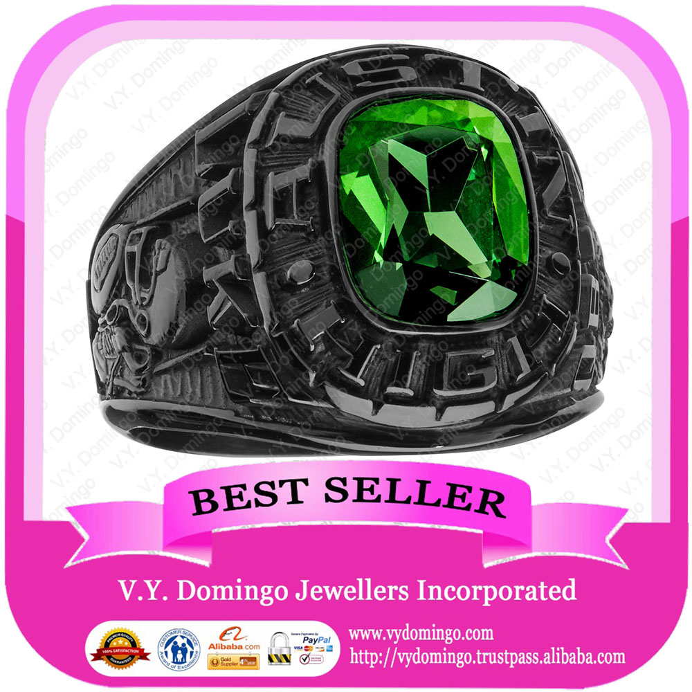 Personalized Stainless Steel Black with Emerald Stone Wholesale Class Ring