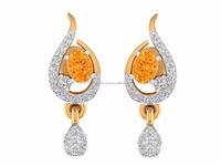14k Solid Hallmark Gold Natural Certified Genuine Diamond Citrine Stone Earring