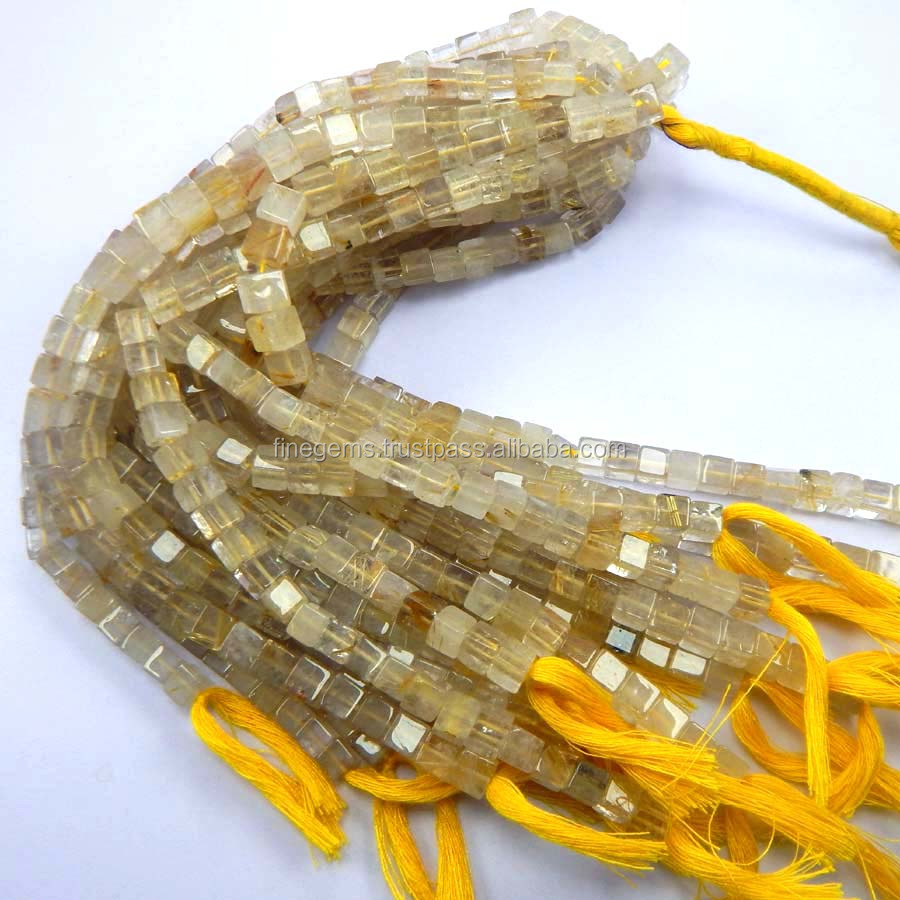 Natural Golden Rutile Quartz Smooth 3D Cube box Beads, Semipiricious