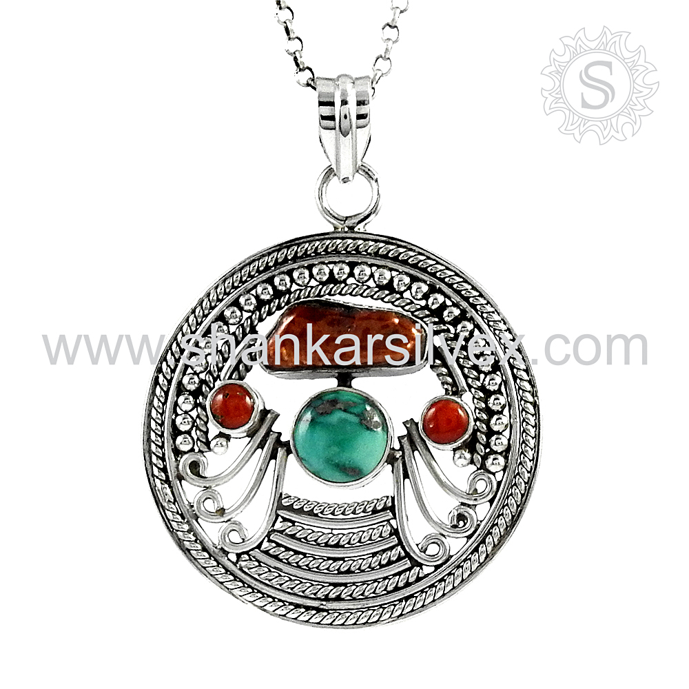 Coral Turquoise South Sea Pearl Jewelry Pendant Online Silver Jewelry Wholesale 925 Silver Jewelry India